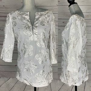 Tory Burch white Silver 3/4 Sleeve Top Size 10